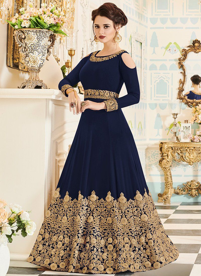 6e05203f62cb Dark Blue and Gold Embroidered Georgette Anarkali Suit in 2019 ...