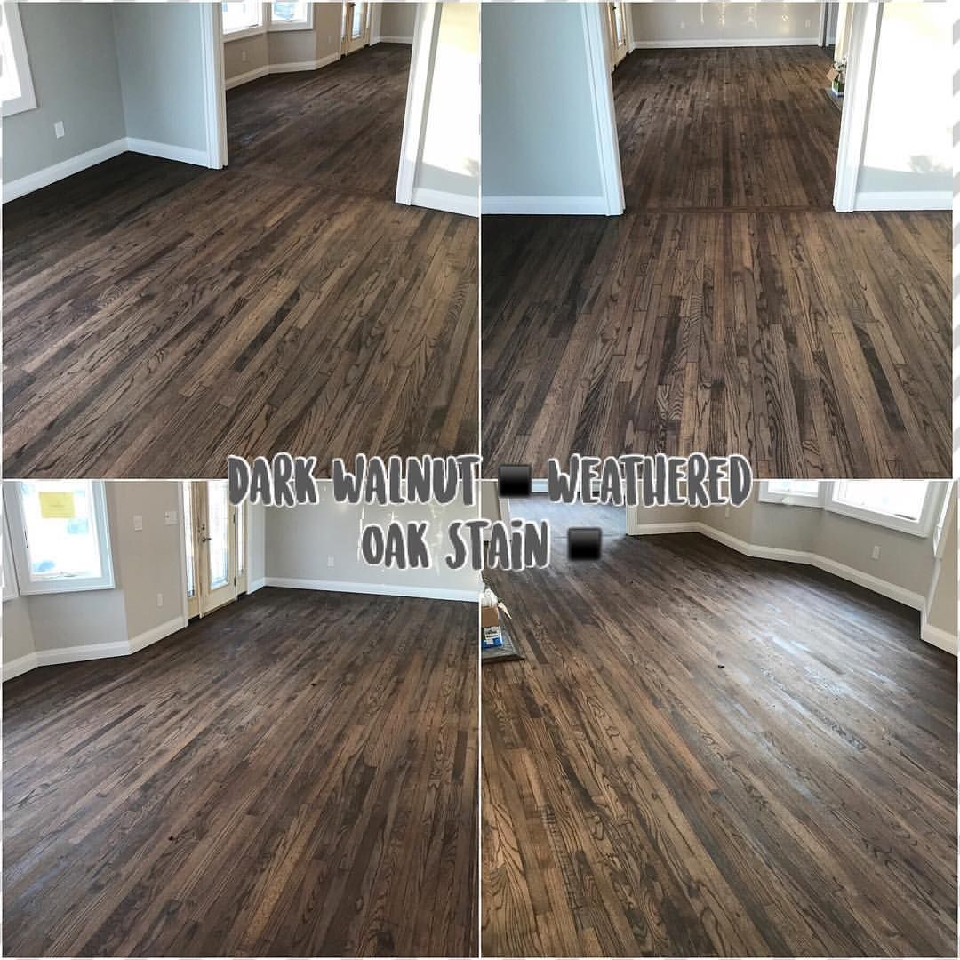 Can T Go Wrong With This Blend On Redoak Bayshore Stained Today Props To Thefam As Always Flooring Oak Wood Stain Hardwood Floors