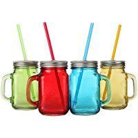 Assorted Colors Mason Jar Mugs With Tin Lid And Plastic Straws 17 5 Oz Each Old Fashion Drinking Glasses Pack Mason Jar Mugs Mason Jars Colored Mason Jars