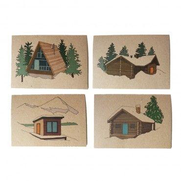 Photo of Conjunto de cuatro tarjetas de lodge de invierno – Kate Broughton