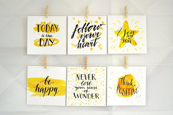 Inspirational quotes lettering pinterest card templates inspirational quotes lettering by annakutukova on creativemarket colourmoves