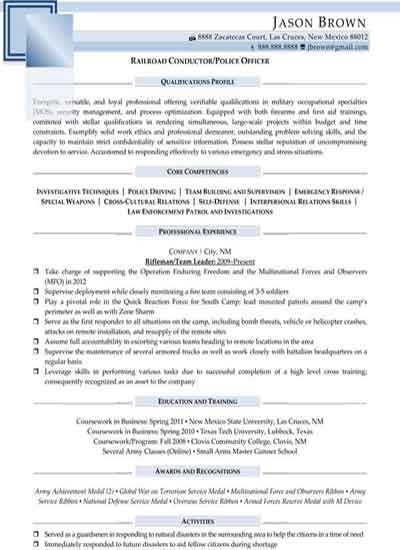 Railroad Conductor Police Officer Sample Resume Samples