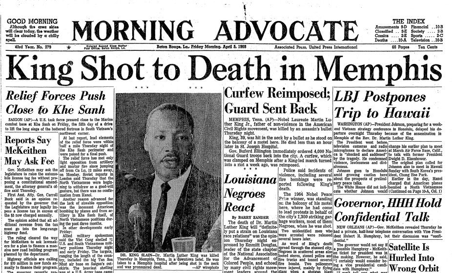 April 4th 1968 Martin Luther King Assassination Martin Luther King Speech Martin Luther King Jr