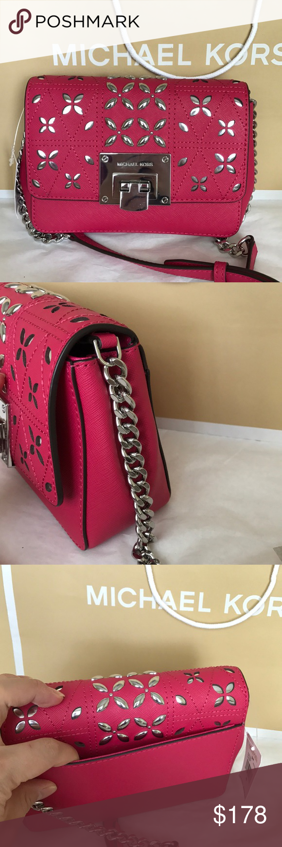 🎆🌸mk clutch crossbody🎆Tina small leather Michael Kors small crossbody clutch.  Ultra pink color silver hard wear. Strap adjustable   removable can wear ... 35a544c946