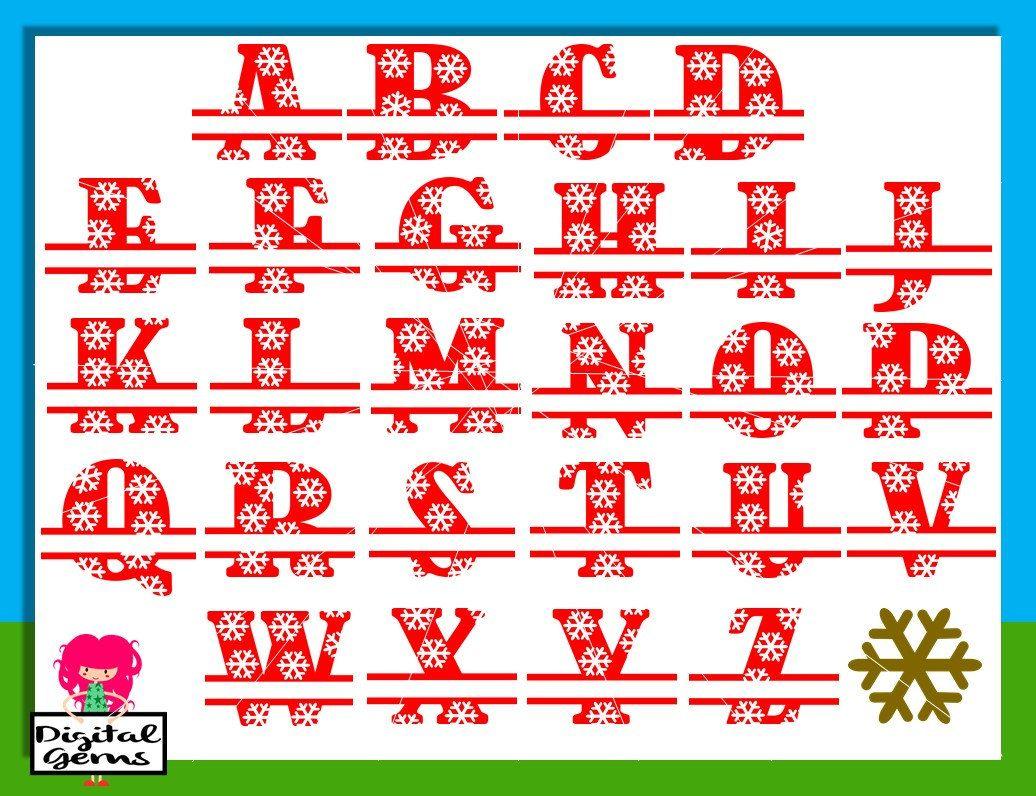 Snowflake Alphabet svg / dxf / eps / png files. Digital