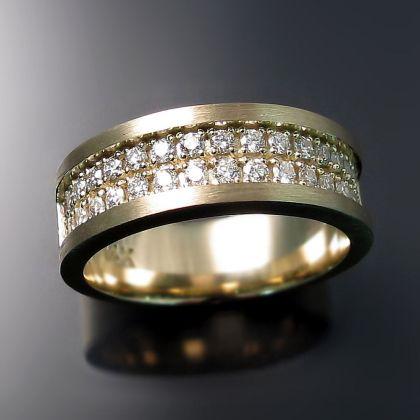 Men S Diamond Wedding Band Brushed Yellow Gold With Two Rows Of Diamonds Mens Diamond Wedding Bands Diamond Wedding Bands Wedding Rings