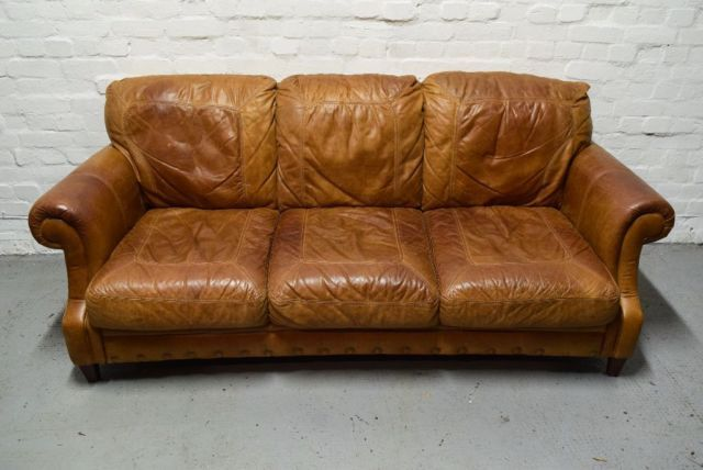 Cigar Leather sofa (DELIVERY AVAILABLE) on Gumtree. Great condition. Please Note: This item is located in Falkirk for a viewing, Delivery available