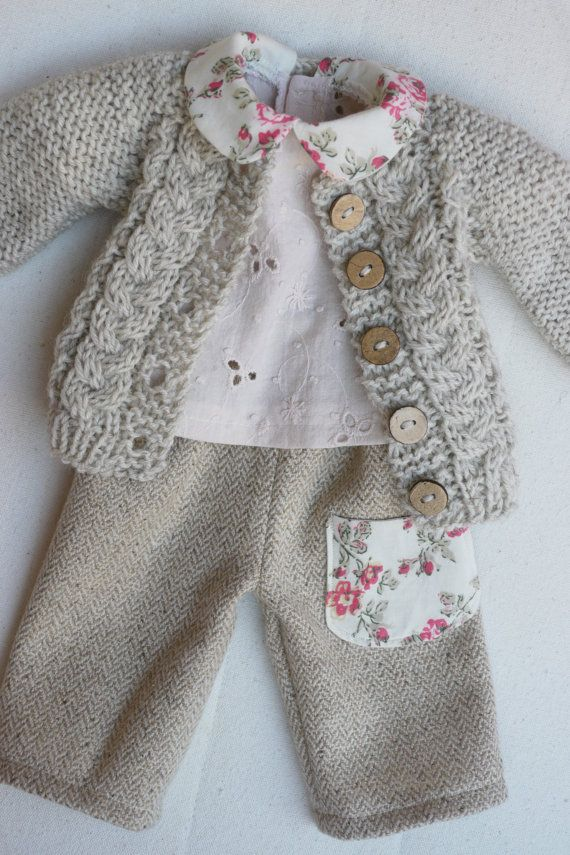 Photo of Waldorf Girl Doll Clothes – Trousers, Blouse & Sweater fit 15.16 inch dolls tan-cream-pink