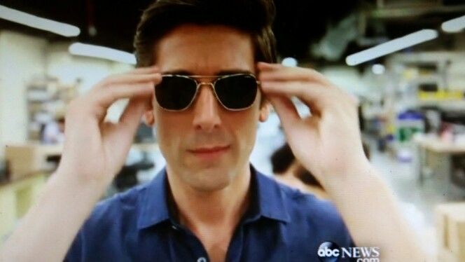 cbad18714f David Muir wears Randolph Aviator sunglasses casually.