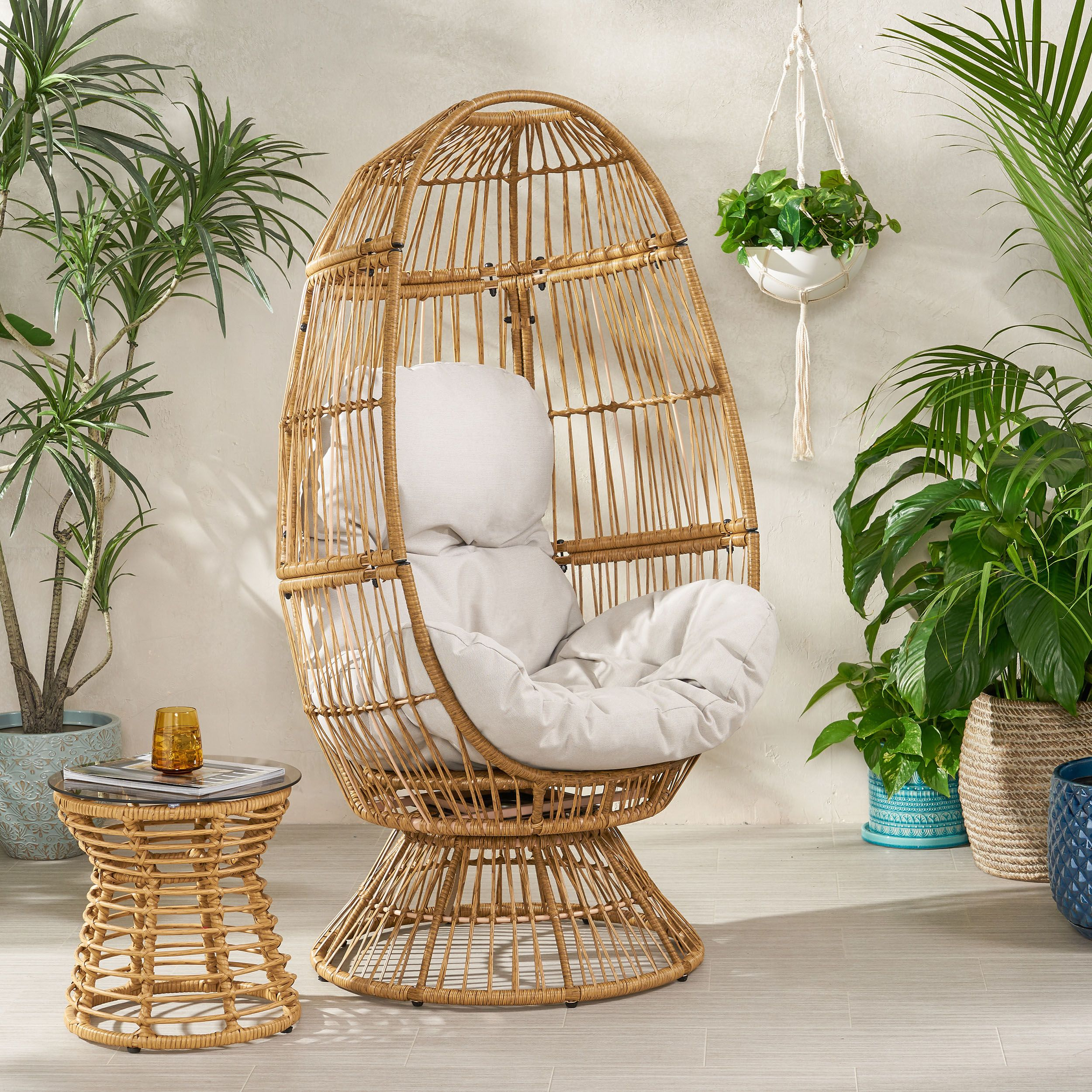 Adaline outdoor wicker swivel egg chair with cushion
