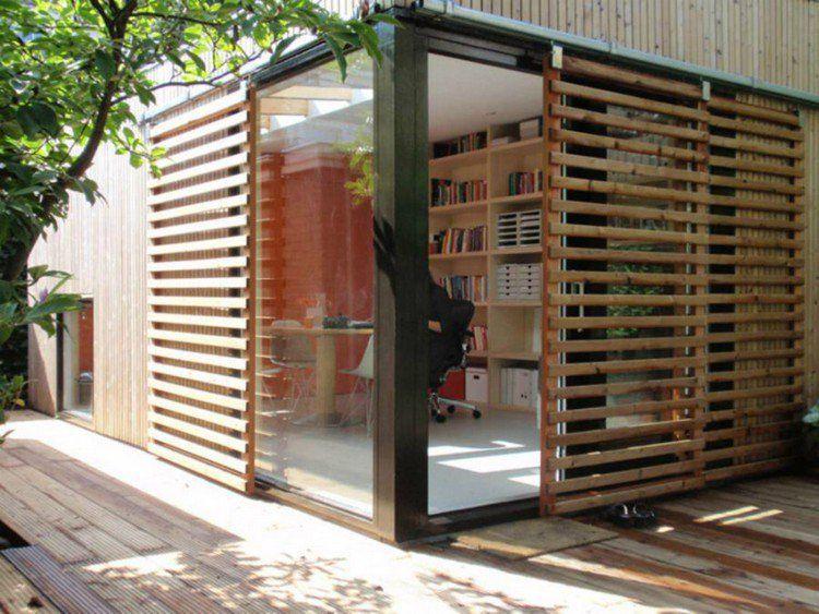 Chalet de jardina avec espace bureau bibliothèque en bois massif