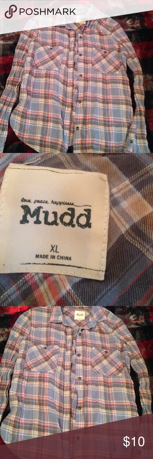 Gangster flannel shirts  Long sleeve flannel Very comfy looks cute worn opened with a white