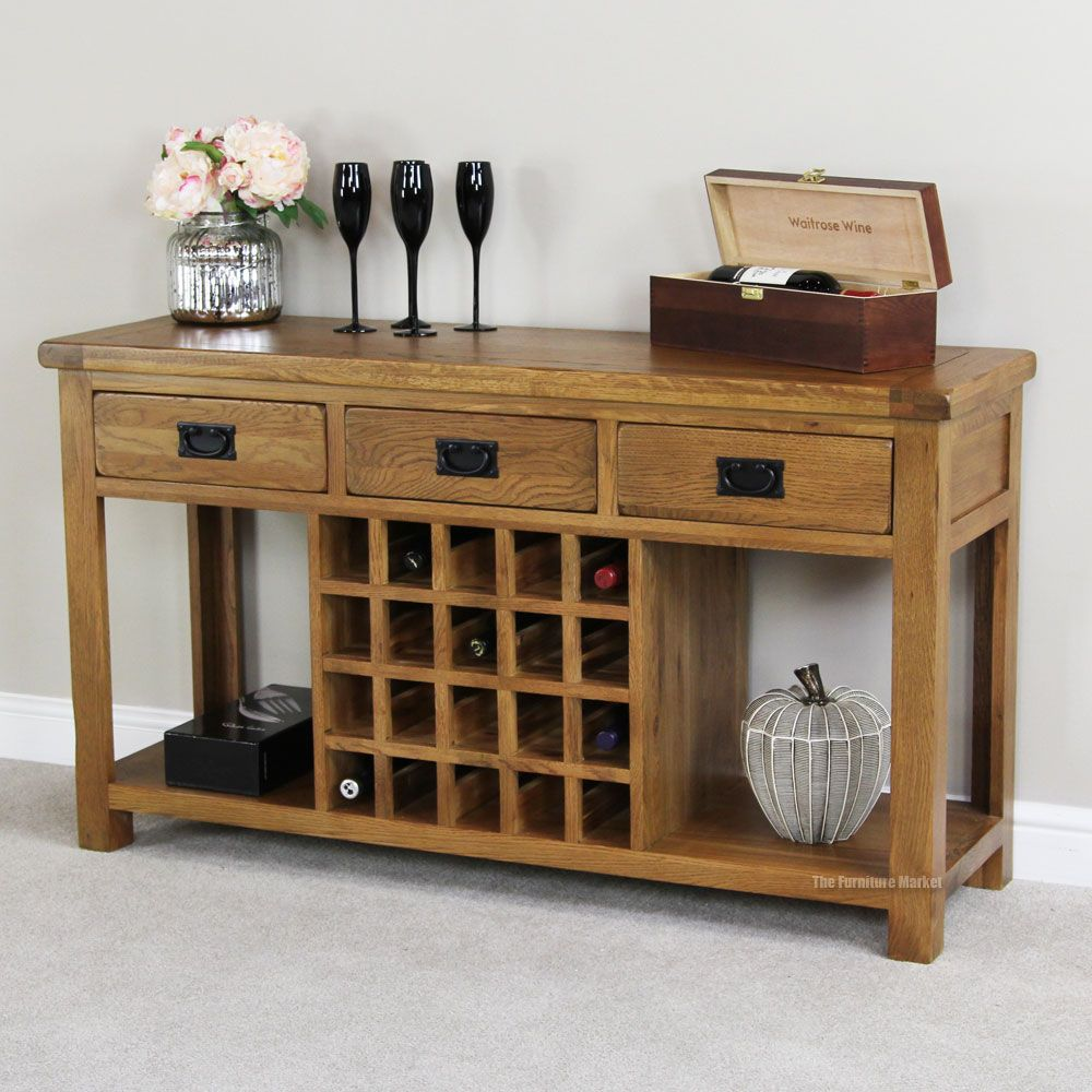 Rustic Oak Buffet With Wine Rack