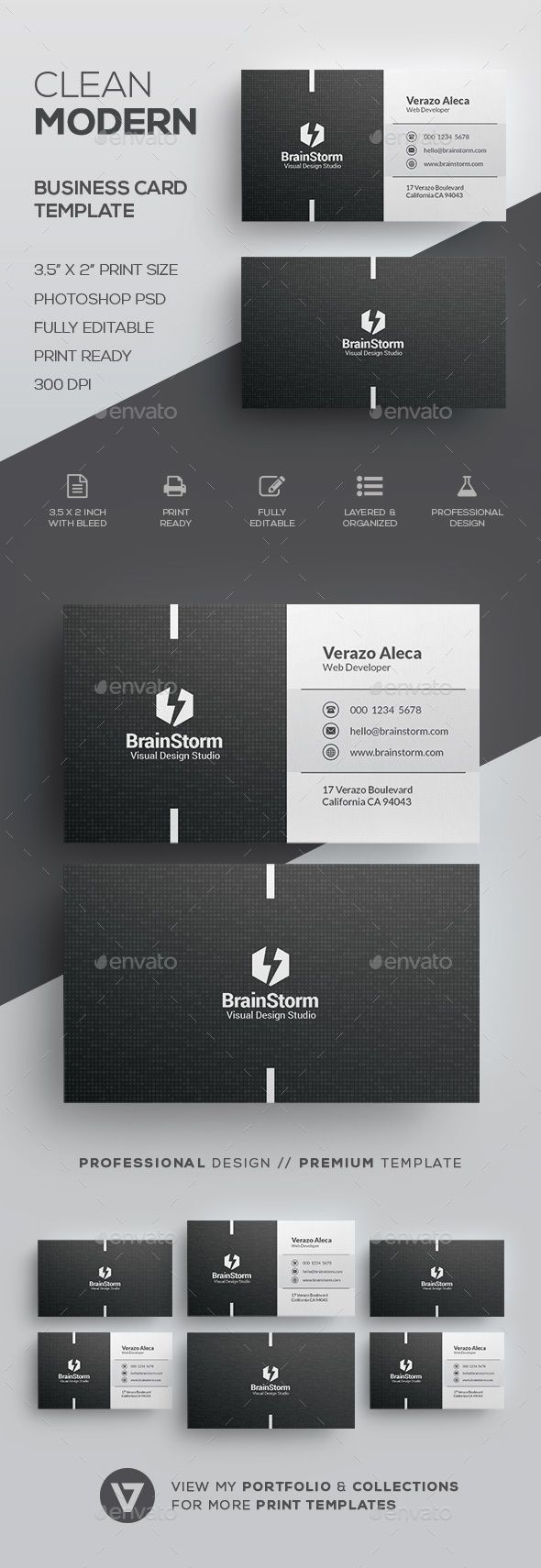 Clean Business Card Template Corporate Business Cards Download - Buy business card template