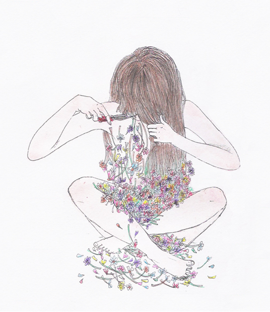 deepmeaningless: Gardening, watercolor and ink - Amanda Chung 2011 yep i colored it.. how does it look?