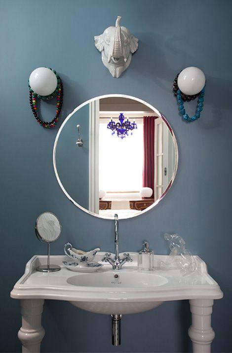 Espejos Redondos Lavabo.Vintage Diseno Y Audacia Lavabo Blanco Con Patas Espejo