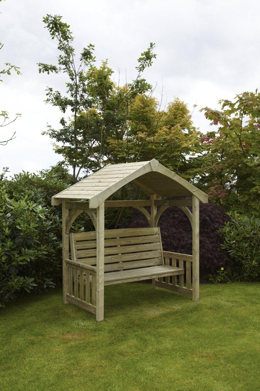 HGG Wooden Covered Garden Bench Arbour Outdoor Patio