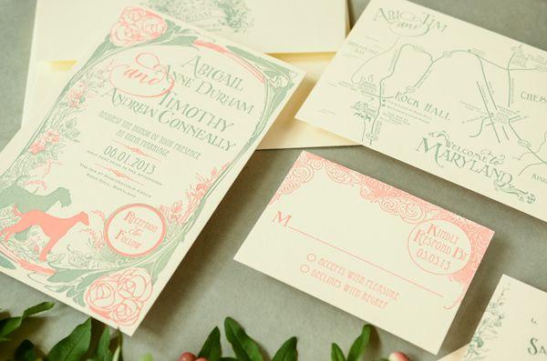 Abigail + Tim\'s Art Nouveau Wedding Invitations   Weddings, Floral ...