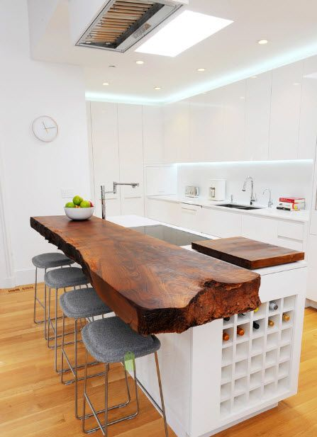 Transitional Kitchen Center Island With Live Edge Elevated Bar