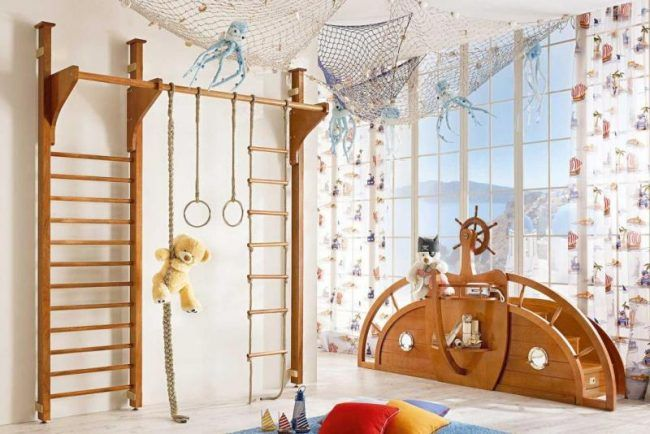 Klettergerüst Holz Kinderzimmer : Maritime moebel kinderzimmer kletterwand schiffsruder treppe