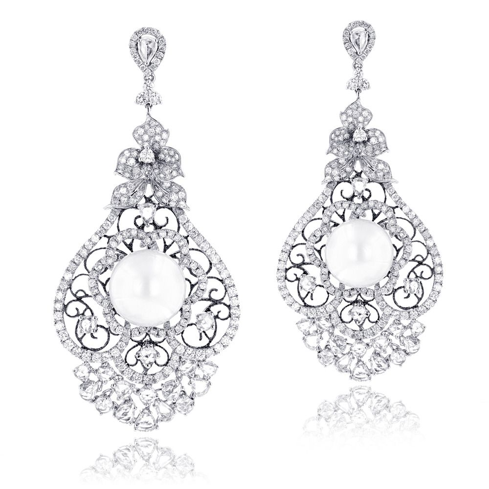 One of a kind 18k gold designer pearl diamond chandelier earrings one of a kind 18k gold designer pearl diamond chandelier earrings 912ct mozeypictures Image collections