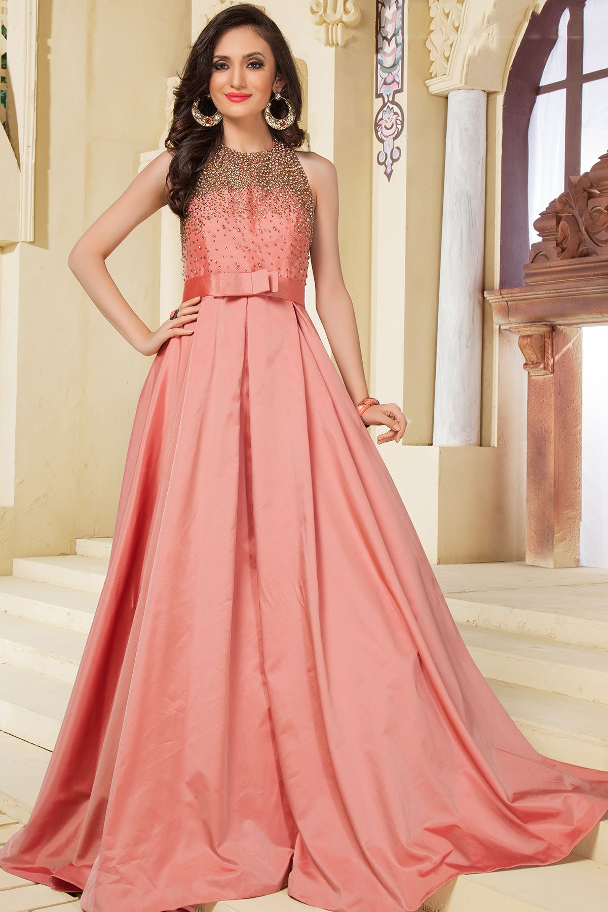 Peach & Gold Stone Embroidered Silk Evening Gown-GW598 | Gowns ...