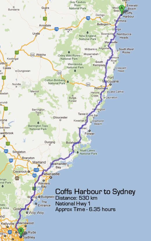 sydney to coffs harbour road maps