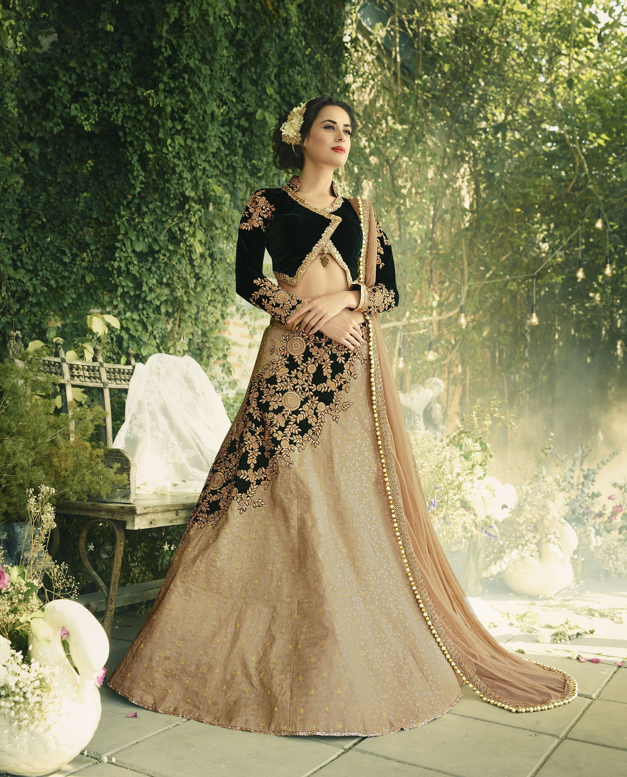 ca46f5c552 Awesome Green And Beige Color Trendy Lehenga Choli True attractiveness  comes out through the dressing style with this green art silk lehenga choli.