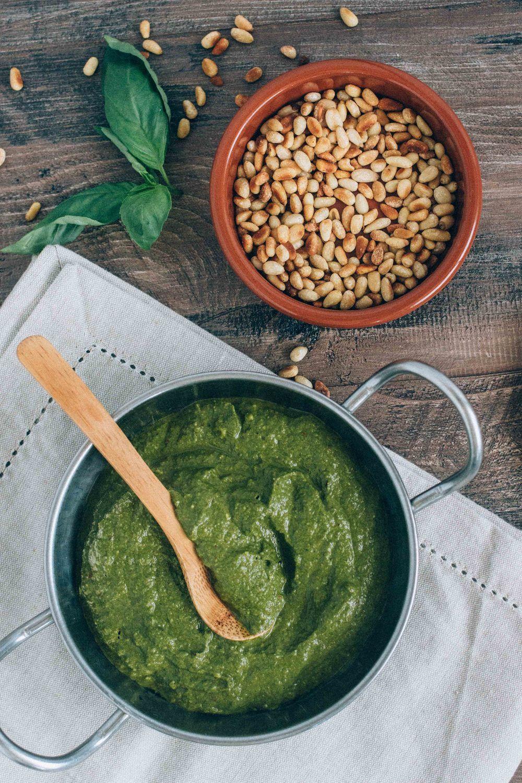Easy dairy-free Arugula Pesto Sauce via barerootgirl.com