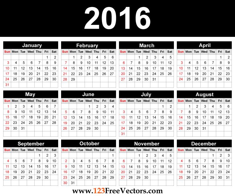 Printable 2016 Calendar Template Free Vectors Pinterest – Free Office Calendar