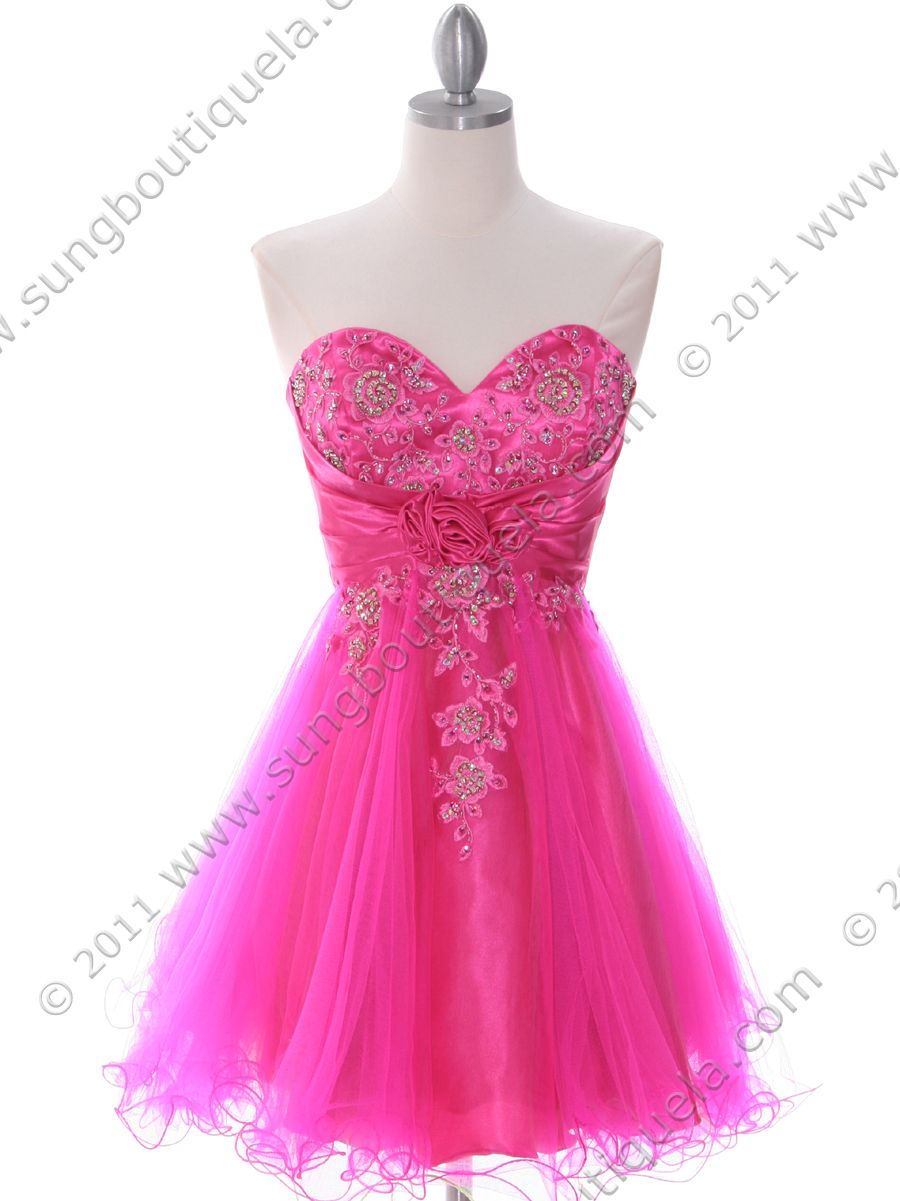 Hot Pink Strapless Homecoming Dress, Hot Pink Party Dresses, Hot ...