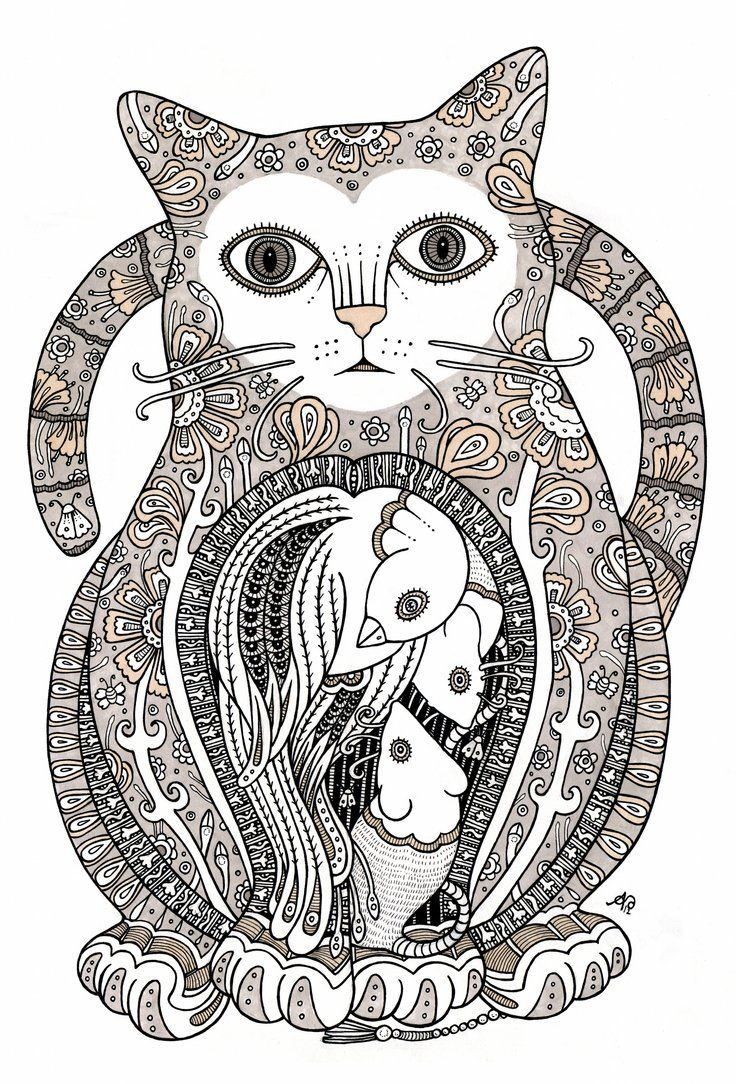 Contented Cat By Anitainverarity On Deviantart Animal Coloring Pages Cat Art Doodle Art Flowers [ 1084 x 736 Pixel ]