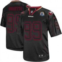 Nike 49ers #99 Aldon Smith Lights Out Black With Hall of Fame 50th Patch  Men's