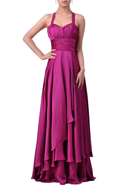 Stretch Silk-like Satin Empire A-line Halter Long Evening Dress ...