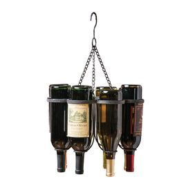 "Metal hanging wine bottle holder.  Product: Wine holderConstruction Material: MetalColor: PewterFeatures: Holds six wine bottlesDimensions: 18.75"" H x 13.8"" Diameter"