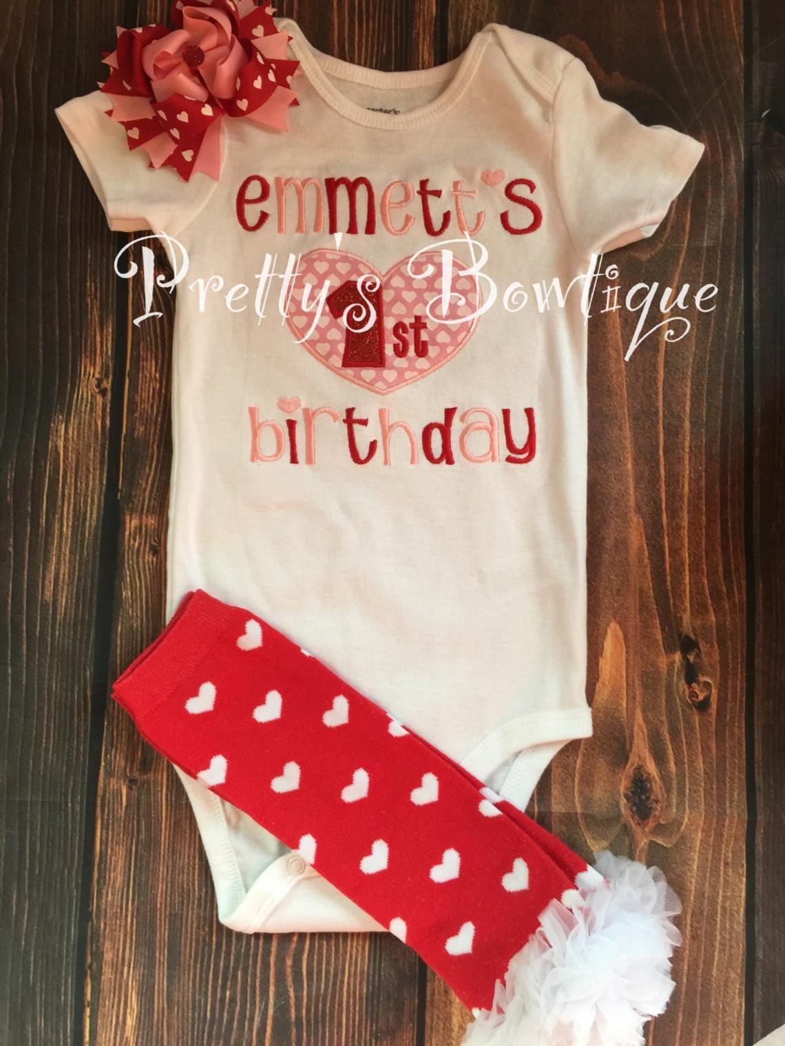Baby girl First Valentine's Birthday Shirt Valentine's