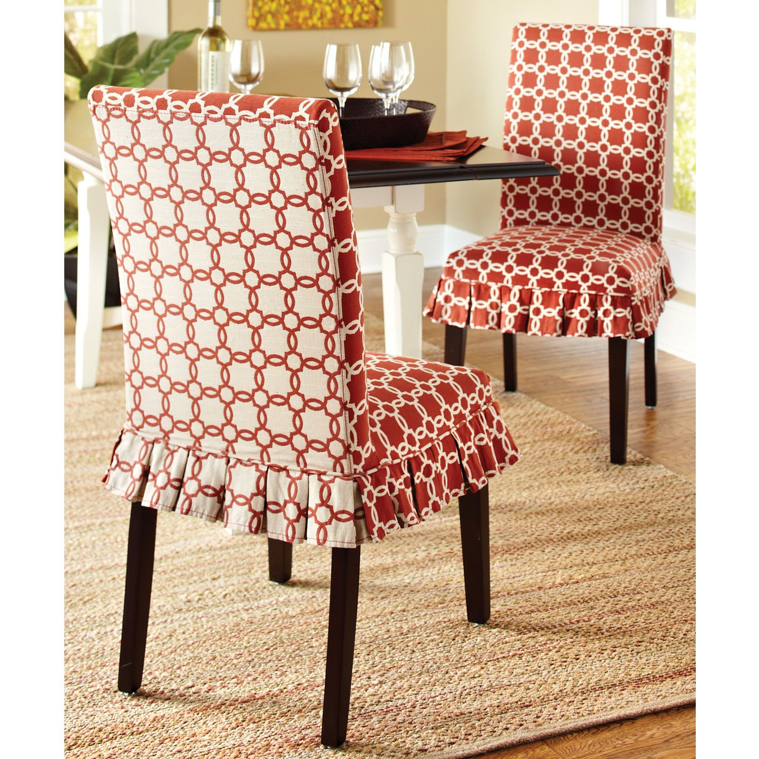 Gingham Dining Room Chair Covers Mid Century Modern Leather Accent How Fun Are These Slipcovers From Pier 1