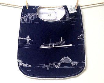 Our Etsy picks: PDX Baby Bib, Bridges, Portland Oregon, Fremont Bridge, Navy Blue, White, Minky, Snap Closure, Toddler Bib