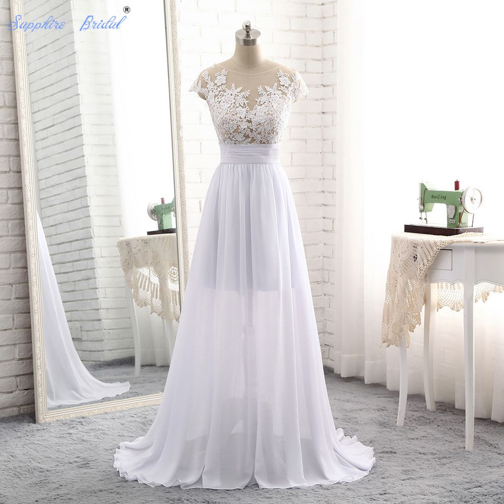 Sapphire bridal vestido de noiva simple chiffon long beach wedding