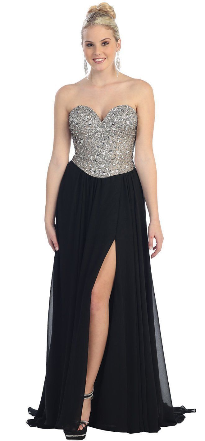 Long Sweetheart Formal Prom Dress Sexy High Front Slit The Dress