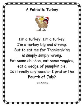 Free Looking For A Cute Poem To Go Along With The Books Turkey