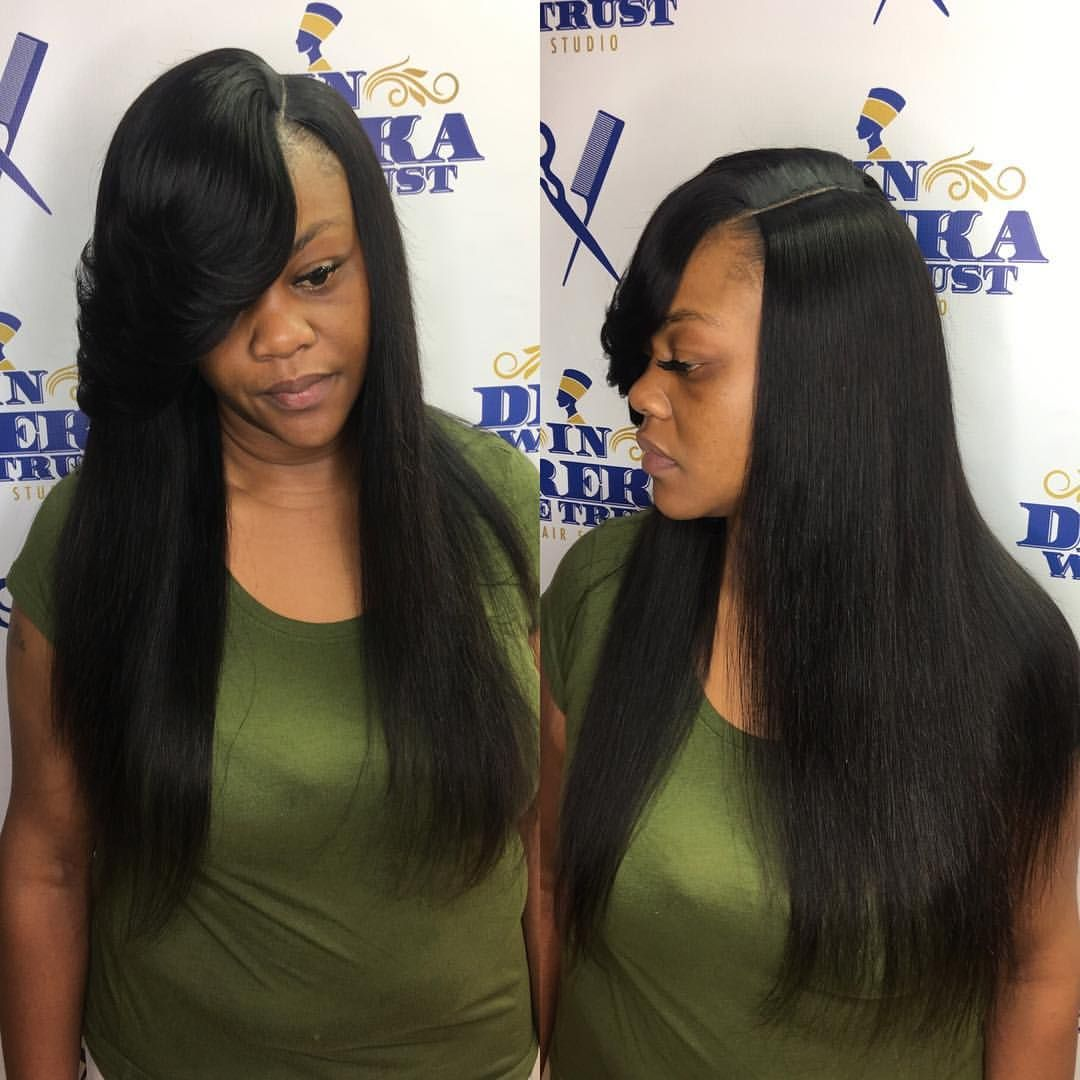 Quick Weave With Illusion Part Brazilan Straight Bundles 16 18 20 22 Inch From Amazon Hairbydreka Tampastylis Straight Hairstyles Hair Styles Straight Weave