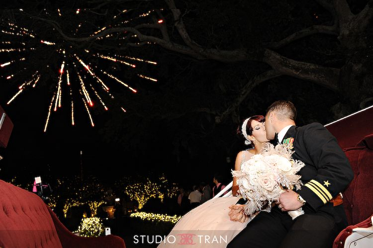 Carnival Queen + Navy Man = Fireworks! See Katie and Brandon's Pink, Pearl and Parisian Inspired wedding on the N.O.W. Blog! photo by Studio Tran