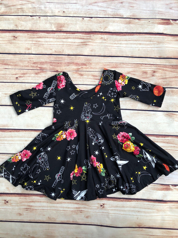 Space garden swing dress baby girls dress girls fall dress