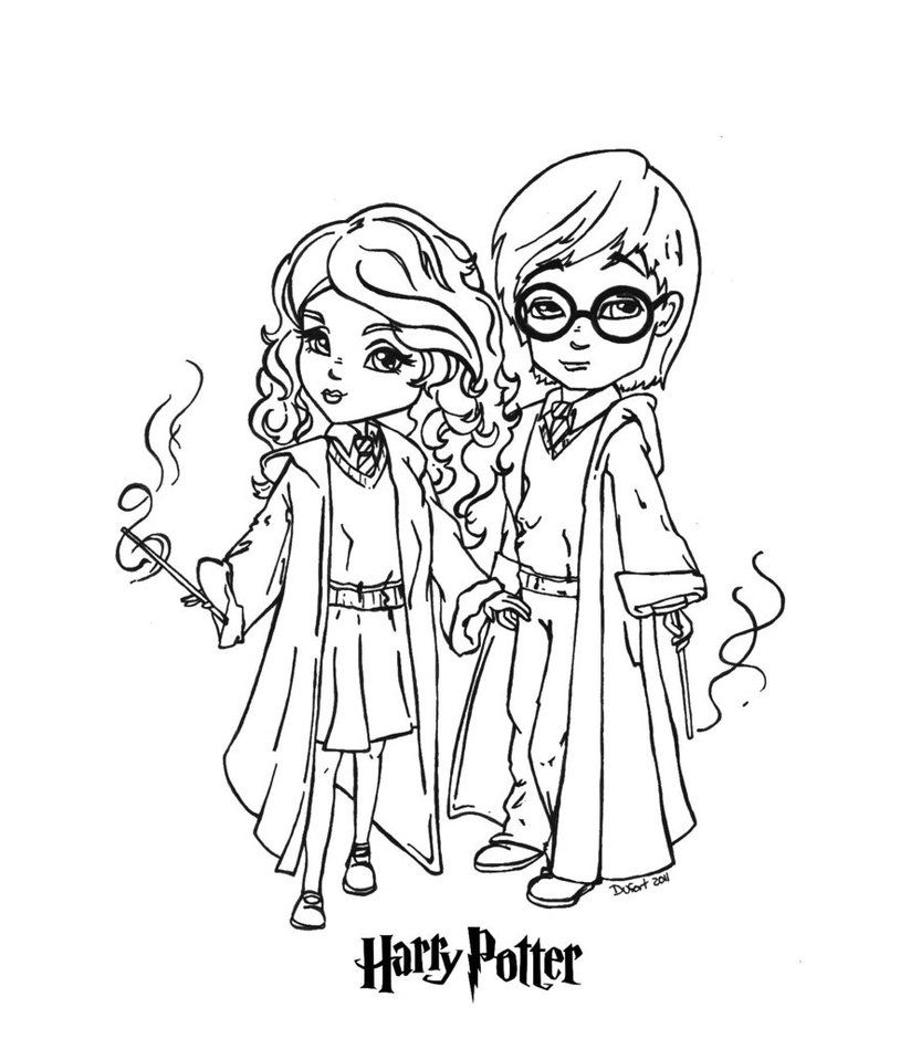 Harry And Hermione By Jadedragonne Dibujos Colorear Disney