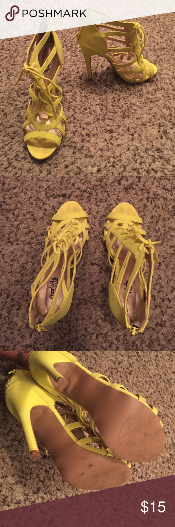 Charlotte Russe - Heels, Open Toe Love these! Only worn once, perfect condition! Great lace-up front detail. Neon yellow color, pairs perfectly for color blocking. Charlotte Russe Shoes Heels
