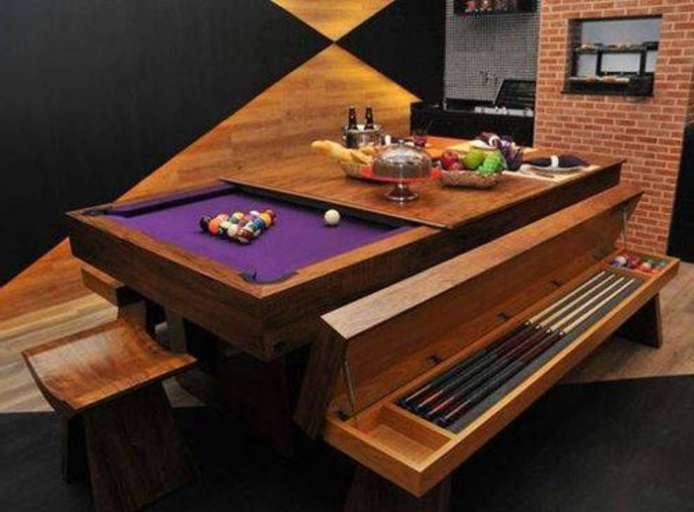Furniture Cool Pool Table Furniture Wooden Pool Table Furniture With Table Top And Benches And St Dining Room Pool Table Pool Table Dining Table Pool Table
