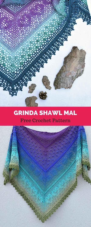 Grinda Shawl MAL [ FREE CROCHET PATTERN   Pinterest   Tücher ...