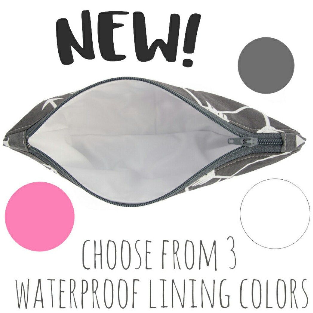 The inside of Happybags are now more fun! Choose from 3 colors of easy to clean, waterproof lining.