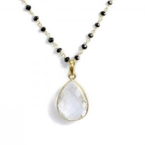Tear Drop Necklace with Large Crystal with Rosary - MANA CULTURE